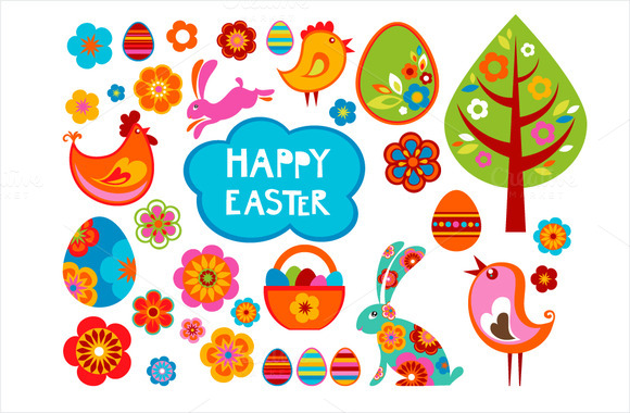 Easter Vector Icons And Labels