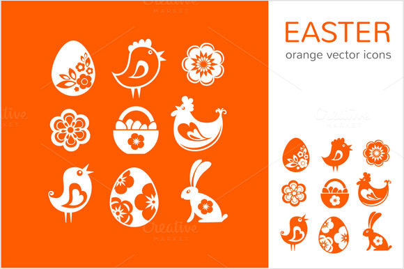Easter Orange Icons Labels