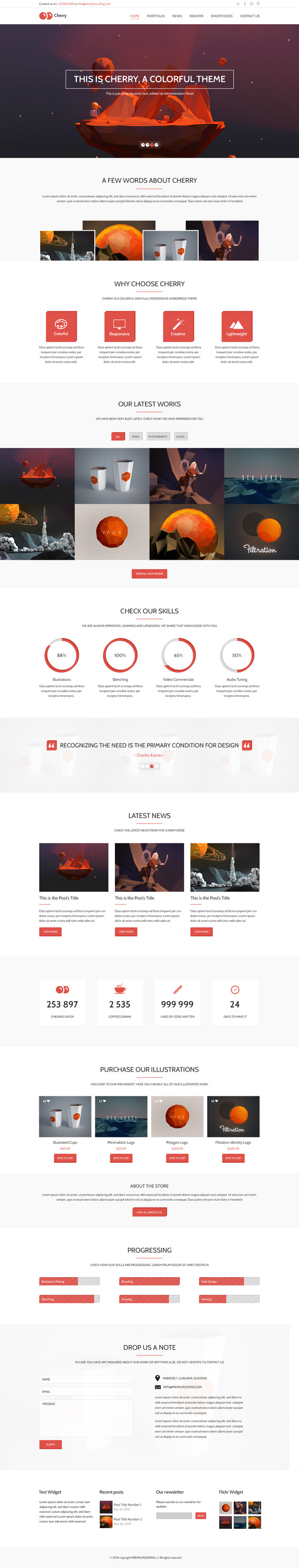 Cherry One Page PSD Template