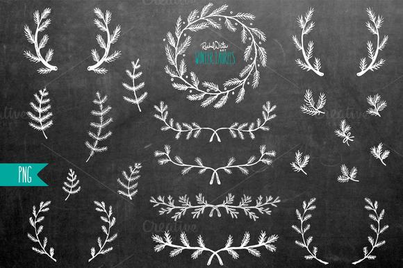 Winter Laurels Clip Art