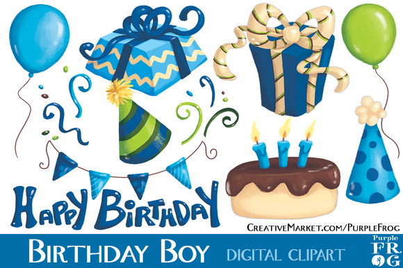 BIRTHDAY BOY Digital Clipart