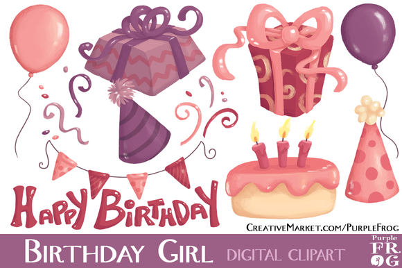 BIRTHDAY GIRL Digital Clipart