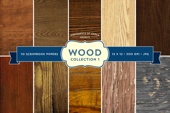 10 Wood Scrapbook Papers Set 1