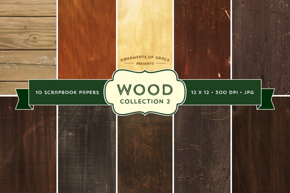 10 Wood Scrapbook Papers Set 2