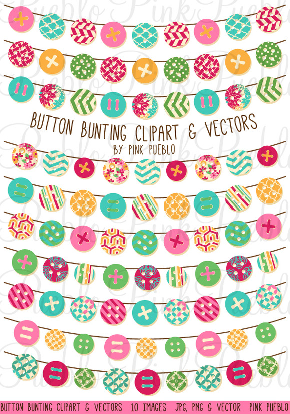 Button Bunting Clipart Vectors