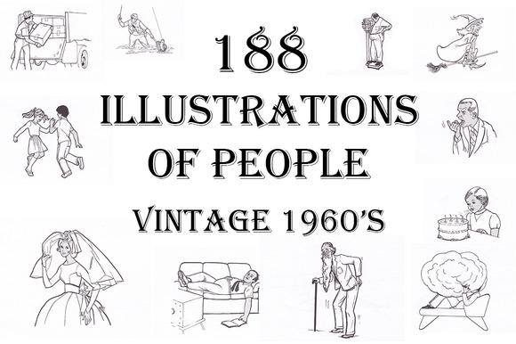 Vintage 1960s Illustrations People