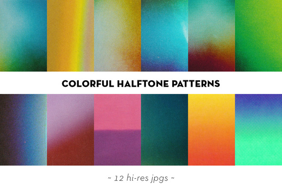 Colorful Halftone Textures Set