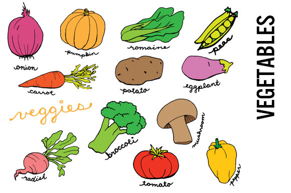 Vegetables Doodle Clip Art