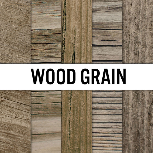 Wood Grain Digital Paper 5 Pack