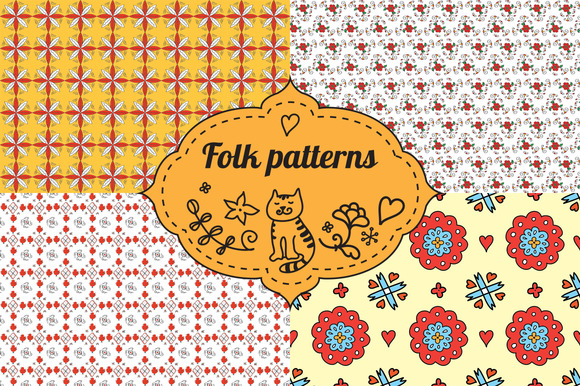 Floral Folk Patterns Set