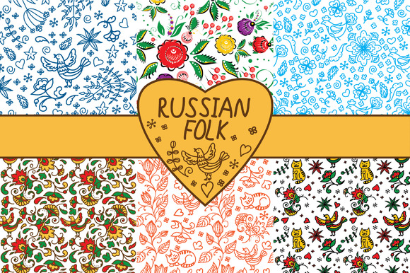 Floral Russian Folk Patterns Set