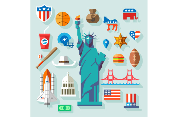 USA Symbols Many Vector Flat Icons