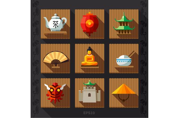 Chinese Lantern Flat Icon Vector