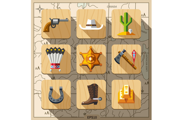 Cowboys And Wild West Flat Icon Set
