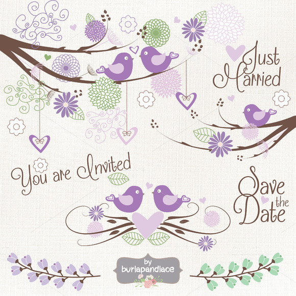 Purple Bird Wedding Clipart Vector