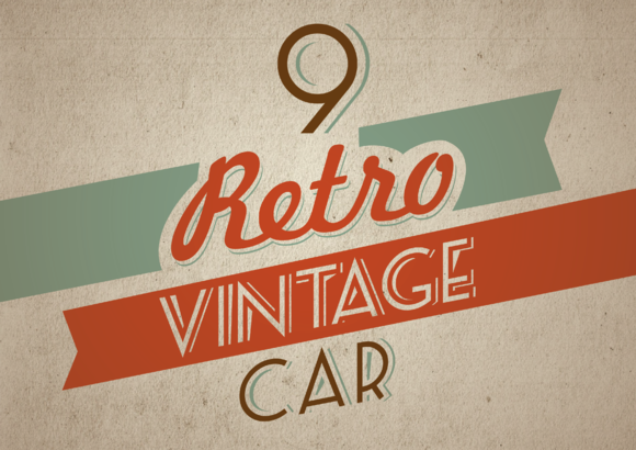9 Retro Vintage Car Editable Color