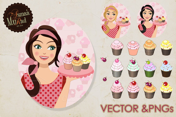 Girl With Cupcakes Character
