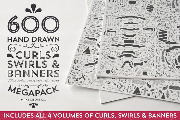 Hand Drawn Curls Banners MEGAPACK