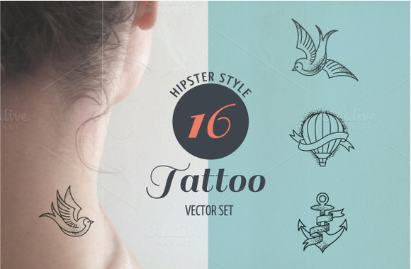 Hipster Style Tattoo Vector