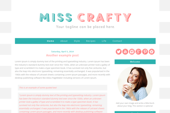 Premade Blogger Template Miss Crafty