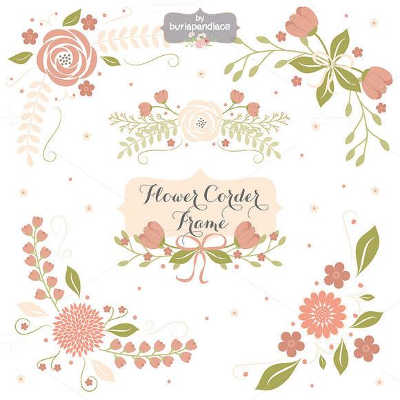 Flower Corner Frame Clipart