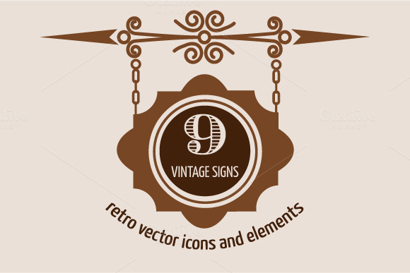 9 Vintage Vector Signs Labels