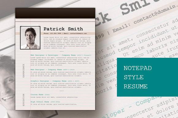 Notepad Style Resume