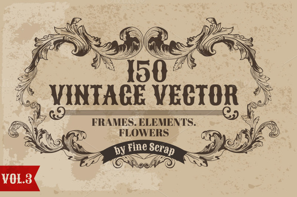 150 Vintage Vector Elements Vol3