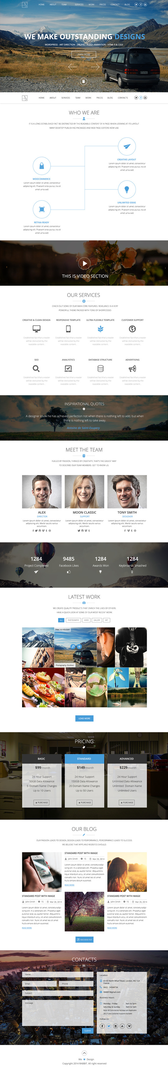 RABBIT One Page PSD Template