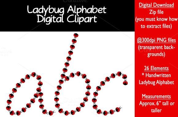 Ladybug Alphabet Letters Clipart
