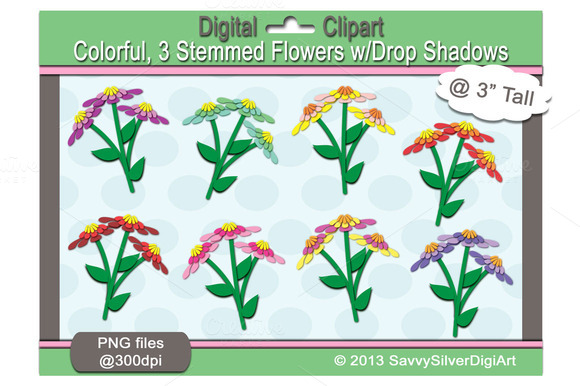 Colorful Flower Digital Clipart
