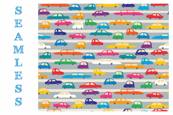 Cute Colorful Cars On A Road