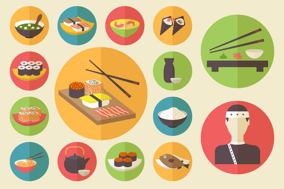 15 Sushi Icons Flat Design Set