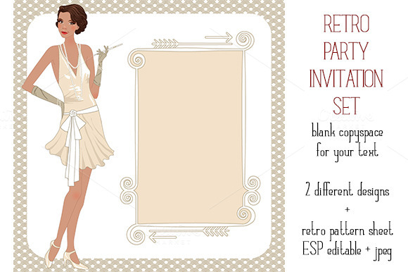 Retro Party Invitation's Set