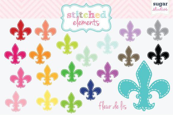 Fleur De Lis Stitched Clipart Set