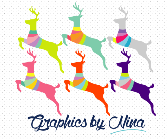 Colorful Deers Clipart