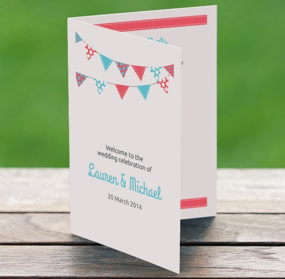 Printable Bunting Wedding Program