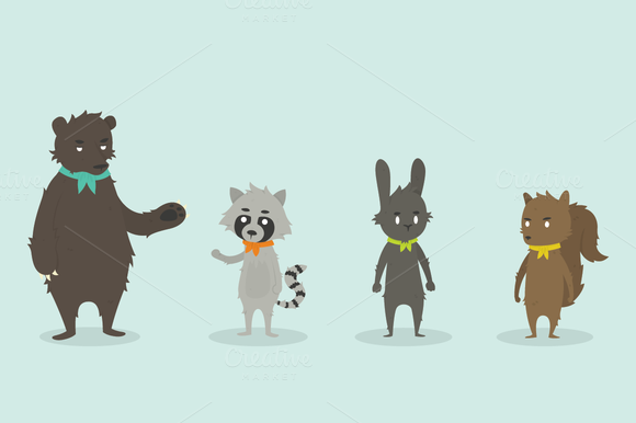 Camping Animals Vector Set