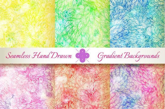 6 Seamless Grunge Gradient Florals
