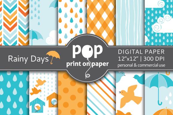 Rainy Days Digital Paper JPG Files
