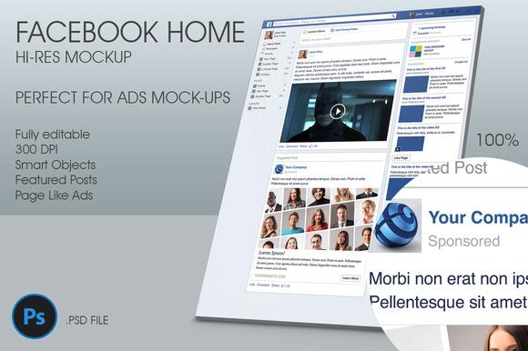 Facebook Home Hi-Res Mockup