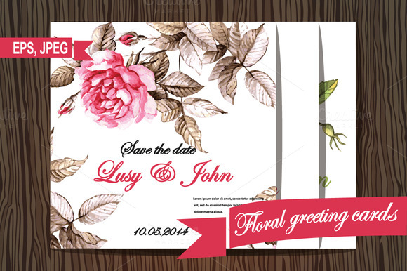 Set Of Floral Watercolor Greeting Ca
