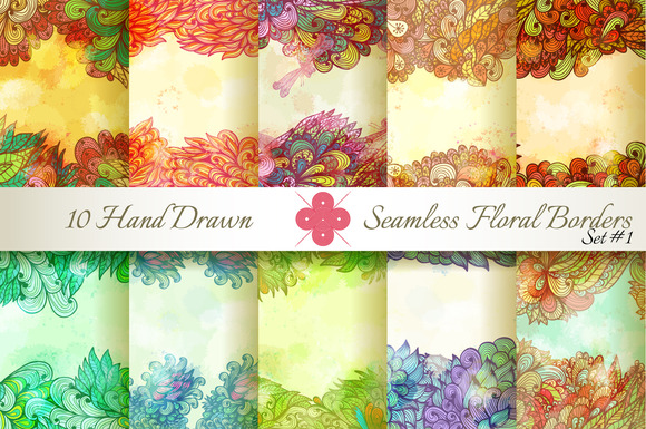 10 Floral Seamless Borders Set#1