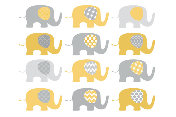 Yellow And Grey Elephant Clip Art