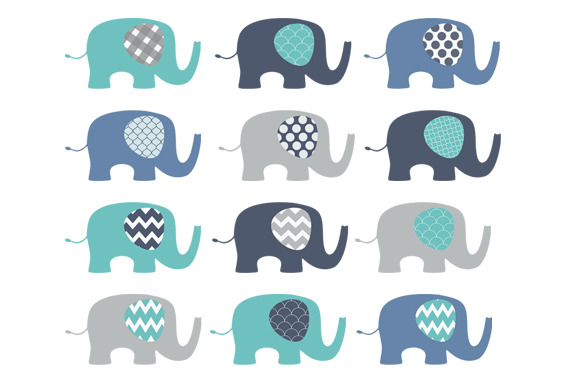 Blue Elephants Clip Art