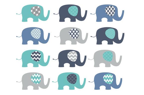 Blue Elephants Clip Art