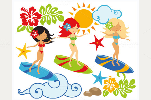 Surfin Babes Surfers Clipart