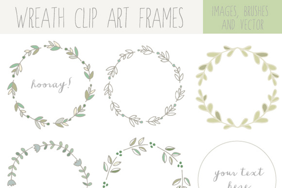 Handdrawn Laurel Wreath Clip Art