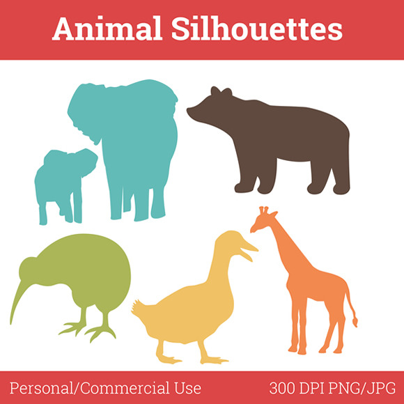 Animal Silhouettes Nursery Clip Art