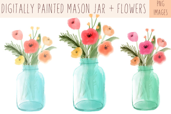 Painted Mason Jar Clip Art